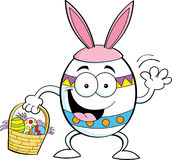 Cartoon Easter egg with a basket Royalty Free Stock Images