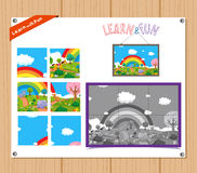 Cartoon Illustration of Education Jigsaw Puzzle Game for Preschool Children with Farm Animals Stock Photos