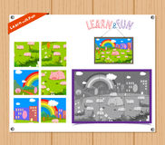 Cartoon Illustration of Education Jigsaw Puzzle Game for Preschool Children with Farm Animals Royalty Free Stock Photo