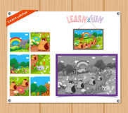 Cartoon Illustration of Education Jigsaw Puzzle Game for Preschool Children with Farm Animals Royalty Free Stock Image