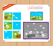 Cartoon Illustration of Education Jigsaw Puzzle Game for Preschool Children with Farm Animals Royalty Free Stock Photos