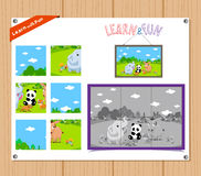 Cartoon Illustration of Education Jigsaw Puzzle Game for Preschool Children with Farm Animals Royalty Free Stock Images