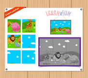 Cartoon Illustration of Education Jigsaw Puzzle Game for Preschool Children with Farm Animals Royalty Free Stock Photography