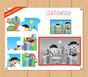 Cartoon Illustration of Education Jigsaw Puzzle Game for Preschool Children with kids books.  Stock Image