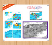 Cartoon Illustration of Education Jigsaw Puzzle Game for Preschool Children with sea life Royalty Free Stock Photos