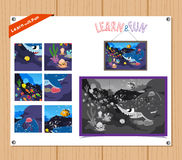 Cartoon Illustration of Education Jigsaw Puzzle Game for Preschool Children with Underwater animals Stock Image