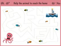Cartoon illustration of education. Matching game for preschool kids trace the path of a big octopus in the sea to eat. All the fish. Education and games. Learn Royalty Free Stock Photography