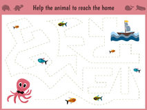 Cartoon illustration of education. Matching game for preschool kids. Trace the path of a big octopus in the sea to eat all the fish. Education and games. Learn Stock Images