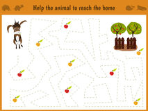 Cartoon illustration of education. Matching game for preschool kids trace the path of the donkey on the farm and on the way collec Stock Photo