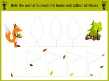 Cartoon illustration of education. Matching game for preschool kids trace the path of the Fox home in the woods. All Stock Illustration