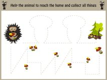 Cartoon illustration of education. Matching game for preschool kids trace the path of a hedgehog in the forest and Royalty Free Stock Photography