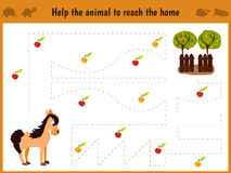 Cartoon illustration of education. Matching game for preschool kids trace the path of the horse to the farm and collect the path o stock illustration