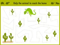 Cartoon illustration of education. Matching game for preschool kids trace the path of a lizard in the desert. Education and games. Royalty Free Stock Photos