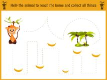Cartoon illustration of education. Matching game for preschool kids trace the path of the monkey in the jungle and Vector Illustration