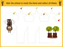 Cartoon illustration of education. Matching game for preschool kids trace the path of sheep to the farm and collect the path of al. L the apples. Education and Royalty Free Stock Photo