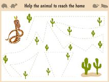 Cartoon illustration of education. Matching game for preschool kids trace the path of the snake in the desert. Education and games royalty free stock photography