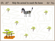 Cartoon illustration of education. Matching game for preschoolers to hold the animal the Zebra home to sovanna. All pictures are i Stock Image