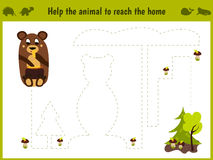 Cartoon illustration of education. Matching game for preschoolers to hold a wild animal bear home. All pictures are  on wh Royalty Free Stock Image