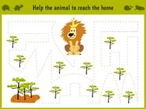 Cartoon illustration of education. Matching game for preschoolers to hold a wild animal of the lion home to sovanna. All Royalty Free Stock Photo