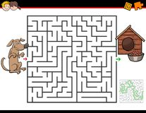 Cartoon maze game with dog and doghouse. Cartoon Illustration of Education Maze or Labyrinth Activity Game for Kids with Dog and Doghouse royalty free illustration