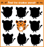 Cartoon  illustration of education will find appropriate shadow silhouette animal cat. Matching game for children of prescho Stock Images