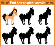 Cartoon  illustration of education will find appropriate shadow silhouette animal horse. Matching game for children of presc. Hool age. Vector Royalty Free Stock Photos