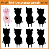 Cartoon  illustration of education will find appropriate shadow silhouette animal pig. Royalty Free Stock Photography