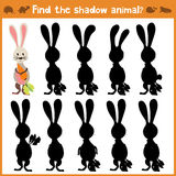 Cartoon  illustration of education will find appropriate shadow silhouette animal rabbit. Matching game for children of pres Royalty Free Stock Photography
