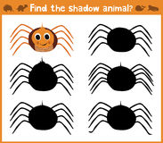 Cartoon  illustration of education will find appropriate shadow silhouette animal spider. Matching game for children of pres Royalty Free Stock Photos