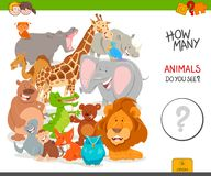 Counting cartoon wild animals educational game. Cartoon Illustration of Educational Counting Activity Game for Children with Cute Wild Animal Characters stock illustration