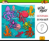 Counting octopus characters educational game for kids Stock Illustration