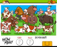Counting cows and bulls educational game for kids Stock Photography