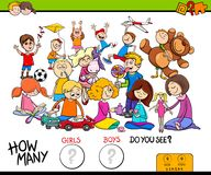 Counting girls and boys educational game Royalty Free Stock Images