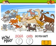 How many dogs and cats activity game. Cartoon Illustration of Educational Counting Game for Children with Running Dogs and Cats Animal Characters royalty free illustration