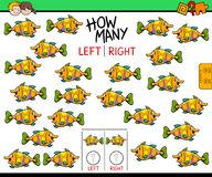Counting left and right picture of fish educational game. Cartoon Illustration of Educational Game of Counting Left and Right Picture for Children with Fish royalty free illustration