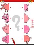 Match halves of pigs educational game Royalty Free Stock Image