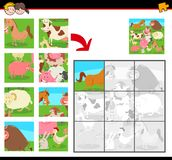 Jigsaw puzzles with farm animals vector illustration