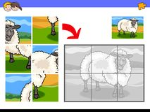 Jigsaw puzzles with sheep animal character Stock Photos
