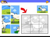 Jigsaw puzzles with goat farm animal character. Cartoon Illustration of Educational Jigsaw Puzzle Activity Game for Children with Goat Eating Grass Farm Animal Stock Photos