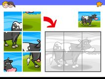 Jigsaw puzzles with cow farm animal character. Cartoon Illustration of Educational Jigsaw Puzzle Activity Game for Children with Milker Cow Farm Animal Character Royalty Free Stock Images