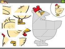 Jigsaw puzzle game with chicken farm bird animal Vector Illustration