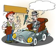 Cartoon illustration of an elderly glenteman who has got his favorite armchair in his new sports car. Cartoon illustration of an elderly glenteman who has got Royalty Free Stock Image