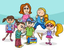 Cartoon elementary school children group. Cartoon Illustration of Elementary School Students or Pupils Characters Group Royalty Free Stock Photography