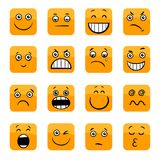 Cartoon emoticons or facial emotions set Royalty Free Stock Photography