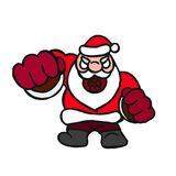 Cartoon illustration of Evil Santa Claus. Evil Santa beats his fist illustration on white background Stock Image