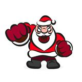 Cartoon illustration of Evil Santa Claus. Evil Santa beats his fist illustration on white background Stock Photo