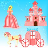 Cartoon illustration of fairytale set. With blue background Royalty Free Stock Photo