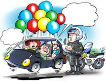 Cartoon illustration of a family car that tries to save on the gasoline, with a light car Stock Photography