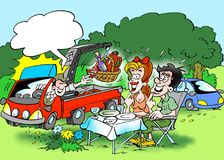 Cartoon illustration of a family forest trip where the lunch is delivered by a service car. Cartoon illustration of a family forest trip where the lunch is Royalty Free Stock Photo