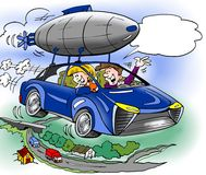 Cartoon illustration of a family has has bought extra equipment for their brand new hybrid car Stock Photos